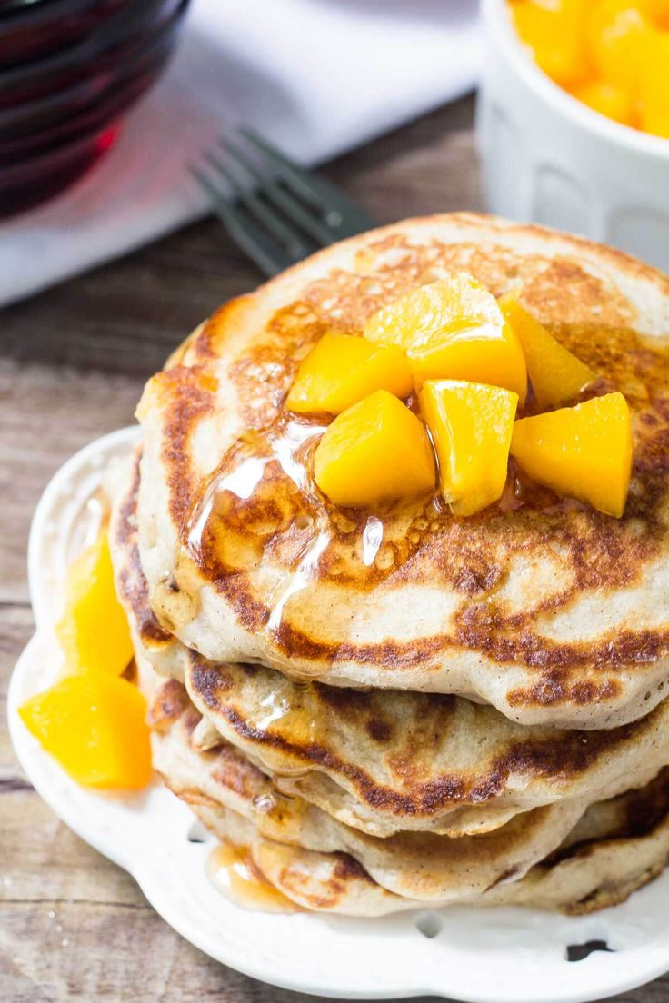 These brown sugar peach pancakes are light & fluffy with golden edges and a delicious hint of brown sugar & cinnamon.