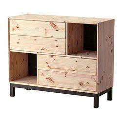 IKEA - NORNÄS, Commode 4 tiroirs/2 compartiments, , En bois massif, un matériau naturel et résistant à l'usure.