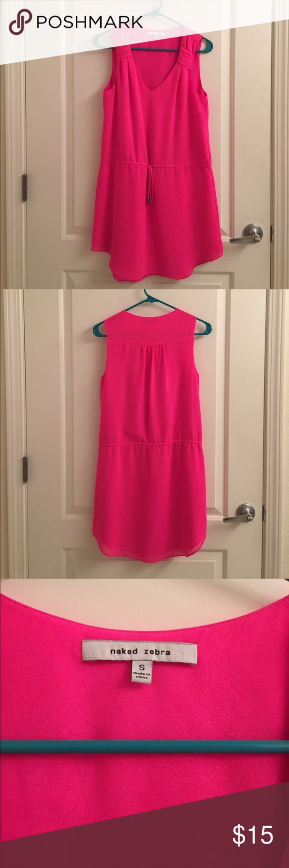 Naked Zebra Hot Pink Drawstring Dress Naked Zebra pink drawstring dress, small in size perfect for date night, day time, or going out falls above the knees. Great detail on straps Naked Zebra Dresses Mini