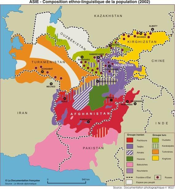 Groupes ethno-linguistiques en Asie centrale en 2002