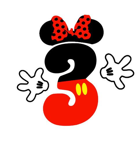 Mickey Mouse or Minnie Mouse Number iron on