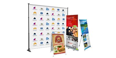 "This 33"" wide banner display stand is lightweight and portable. When not in use, your Banner is stored inside the anodized aluminum casing which fits easily into the travel bag (included)."