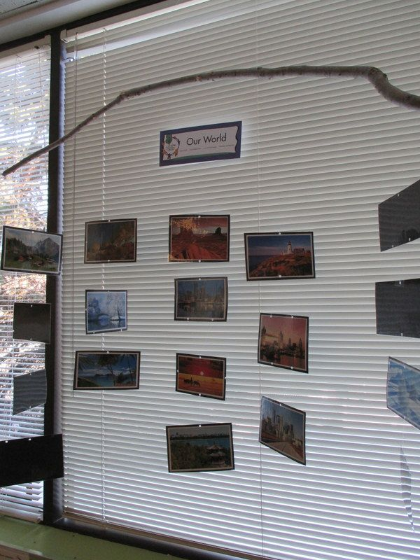The preschool teachers at the Bright Horizons at Minnetonka, MN created this interesting display of Our World photos to hang over a classroom window. The current pictures are of landscapes and cityscapes from around the world, but can easily be rotated.