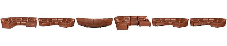 Beckett Leather 5-Piece Chaise Sectional Sofa with 2 Power Recliners