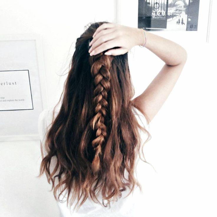 half up // half down braided hairstyle  #hair #hairstyle #braids #tutorial