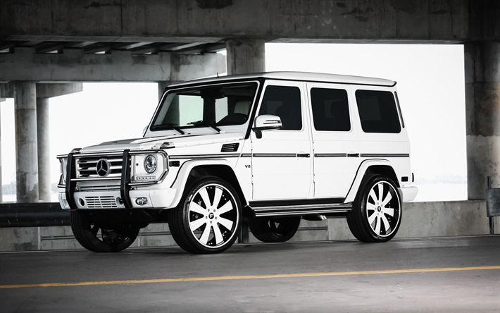 Download wallpapers Mercedes-Benz G-?????, G550, 4k, SUV, white G55, tuning Mercedes, Forgiato wheels