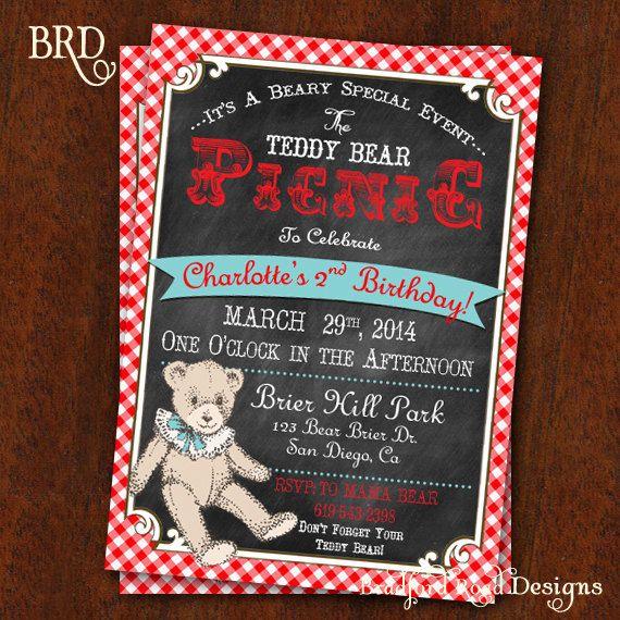 Teddy Bear Picnic Invitation Chalkboard & by BradfordRoadDesigns, $15.00