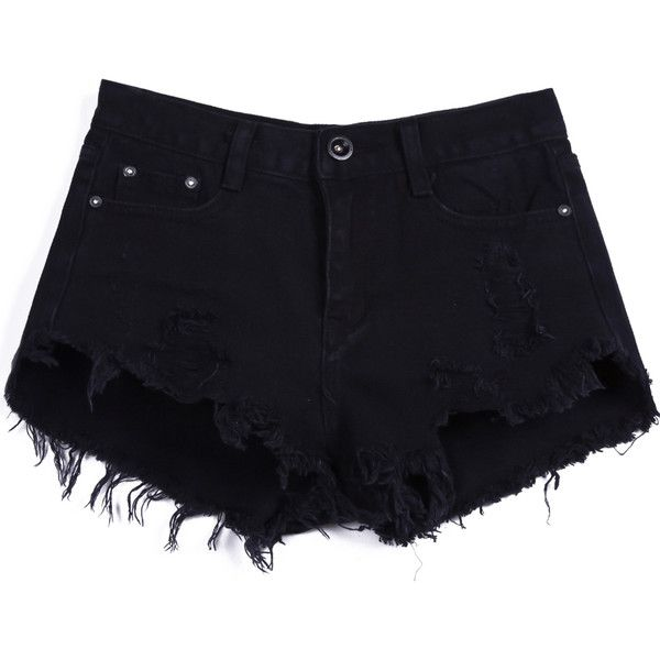 SheIn(sheinside) Black Buttons Ripped Fringe Denim Shorts (266.315 IDR) ❤ liked on Polyvore featuring shorts, bottoms, pants, black, distressed shorts, torn shorts, distressed jean shorts, vintage shorts and ripped denim shorts