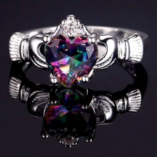Claddagh-Heart-Silver-Plated-Rainbow-Topaz-Cubic-Zirconia-Ring-Varius-Sizes