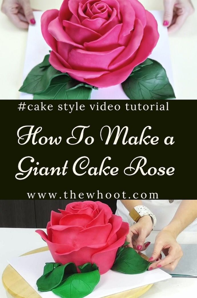 Learn How To Make Vanessa S Giant Rose Cake Video Instructions The Whoot Rose Cake Rose Cake Pops Giant Cupcake Cakes