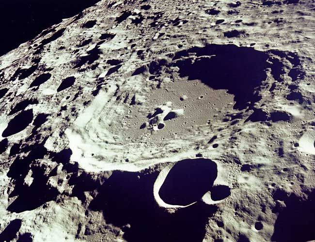 HI-RES shot of a moon crater ...captured from Apollo 11 mission in July 1969. Impressive clarity for back then! Apollo 11 was of course the mission where Neil Armstrong became the first man to walk on the Moon.