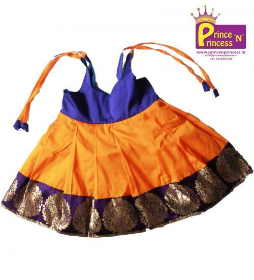 Cute New born Traditional Frock. Made of silk cotton and Gorgeous Border. For…