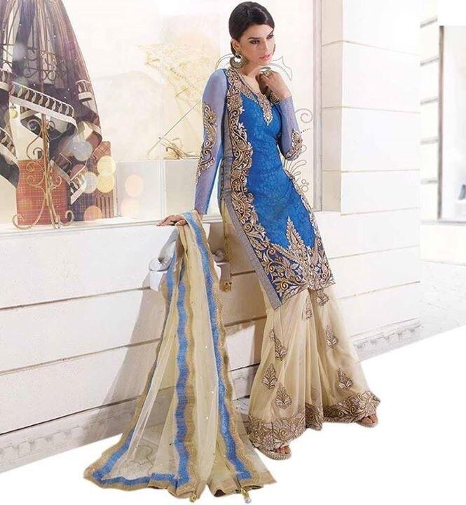 Georgette Machine Work Blue Unstitched Pakistani Suit - B111