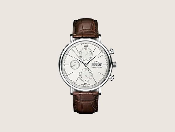 Iwc Portofino Silver Dial Chronograph Brown Leather Iw391007 Nice Watches For Men