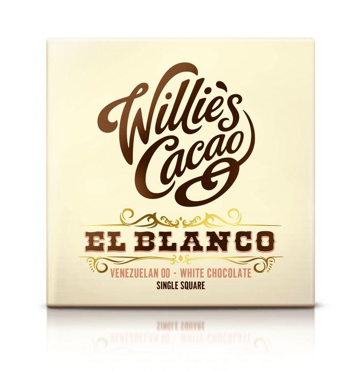 Willie's Wit Witte chocolade gemaakt van de natuurlijke cacaoboter van één soort cacaoboon uit Venezuela. Met maar 30% rietsuiker + Bio melk