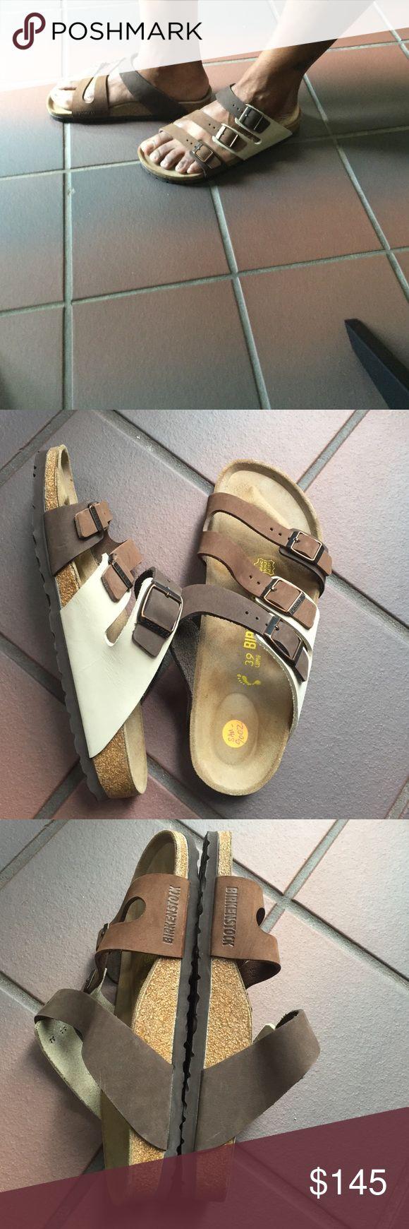 Barely worn Sz.39 Birkenstock Florida sandal Barely worn tri-colored leather Sz.39 Birkenstock Florida sandal Birkenstock Shoes Sandals