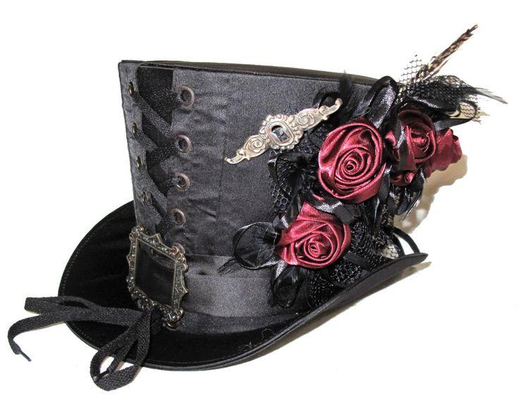 Chapeau Haut de Forme 18cm Rétro Steampunk Fleurs