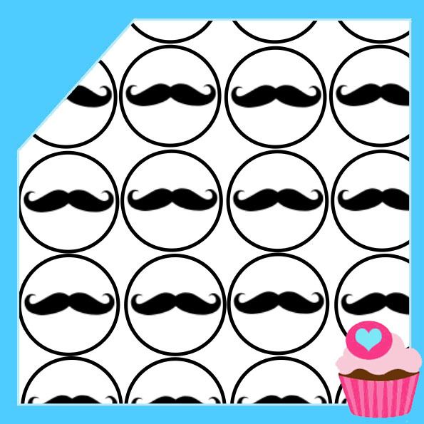 Edible Cake Toppers - Moustache Cupcake images Black