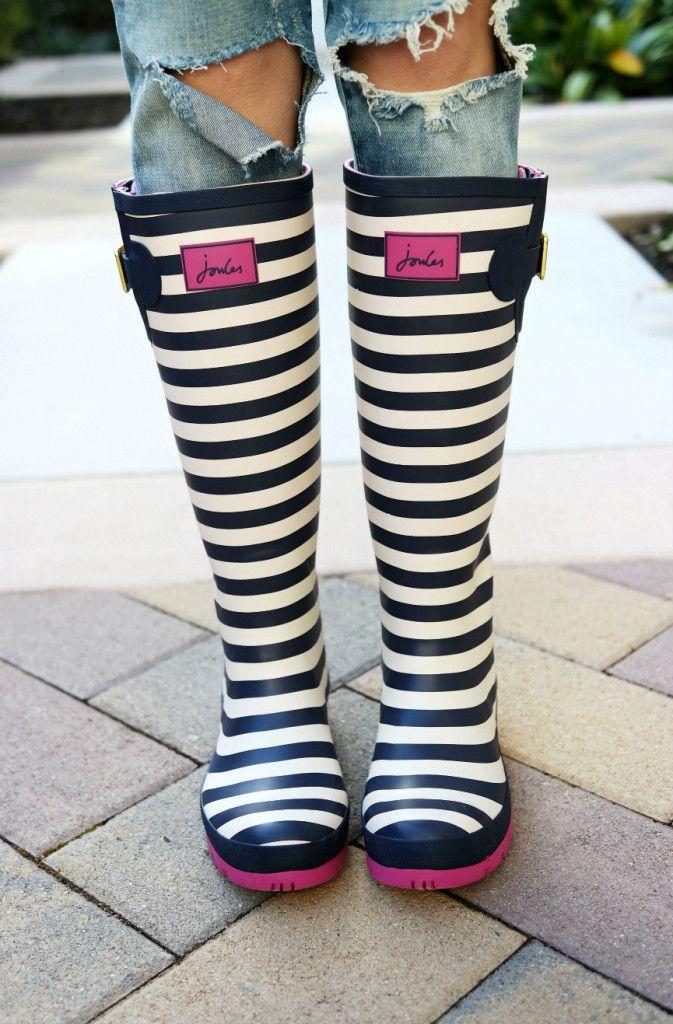 Joules Striped Rain Boots: Raspberry Glow