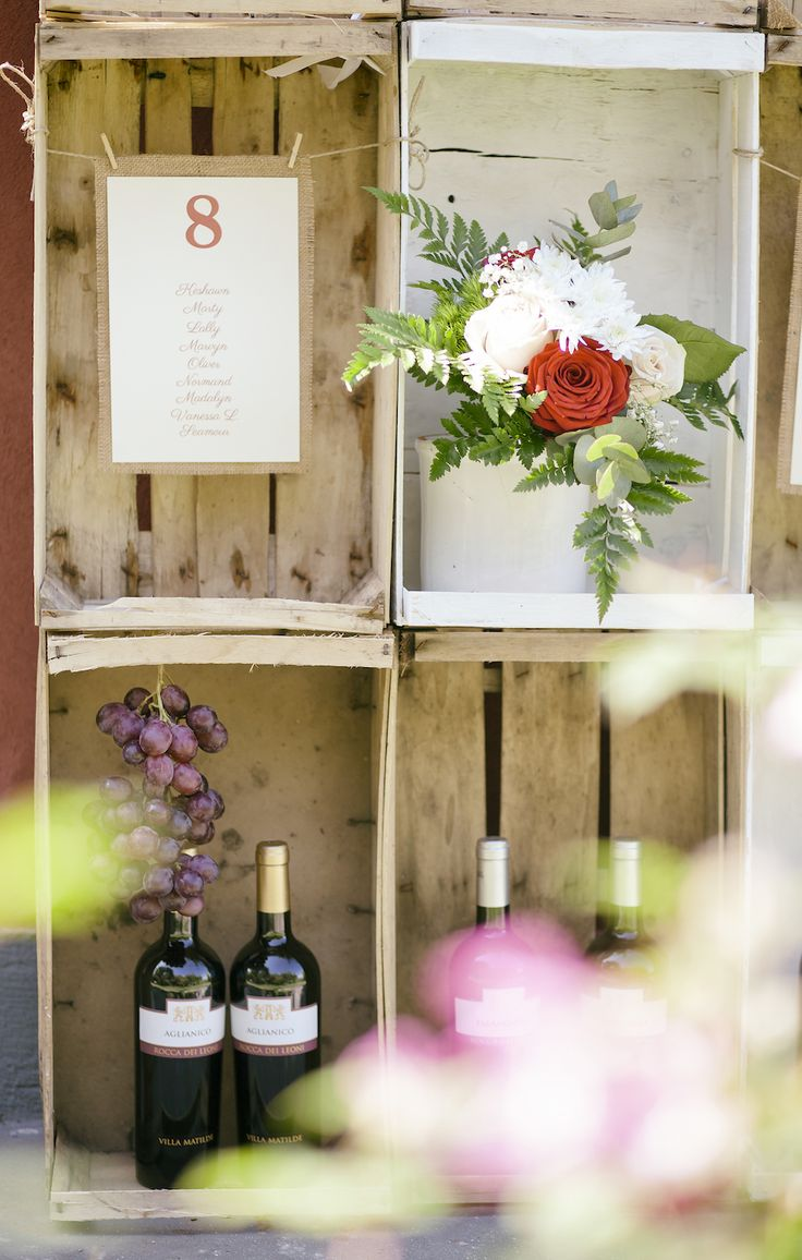 wine themed seating chart with wooden crates