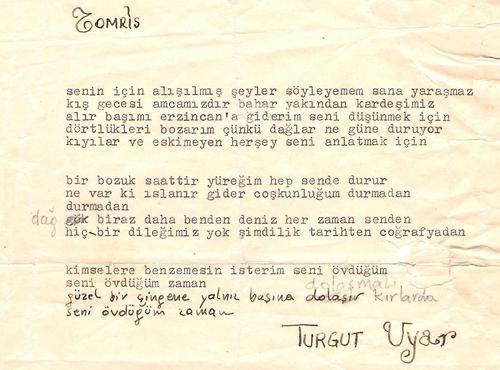 Turgut Uyar'ın Tomris Uyar'a yazdığı şiir