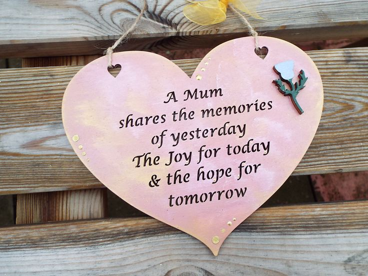 A MUM SHARES..... wooden heart gift plaque. Hand-painted, laser-cut. Ideal present for Mum/Mummy/Mother by KatijanesCreations on Etsy