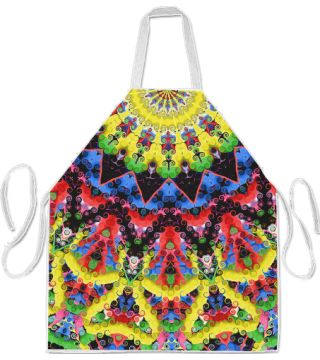 Meditation Apron by Terrella.  A colourful kaleidoscopic pattern.  What can you see in it?