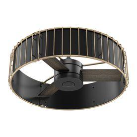 Hunter Vault 30-In Matte Black And Modern Brass Downrod Mount Indoor Residential Ceiling Fan Standard Adaptable Remote C