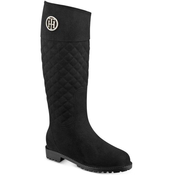 Tommy Hilfiger Babette Quilted Rain Boots ($89) ❤ liked on Polyvore featuring shoes, boots, black, rubber boots, tommy hilfiger shoes, black rain boots, wellies boots and wellies shoes