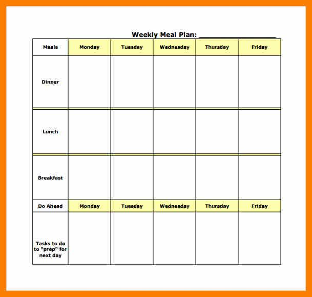 image result for weekly meal planner template with grocery