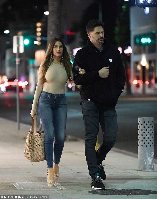 Happy couple: Sofia Vergara took a late-night romantic stroll through Beverly Hills with husband Joe Manganiello on Friday night