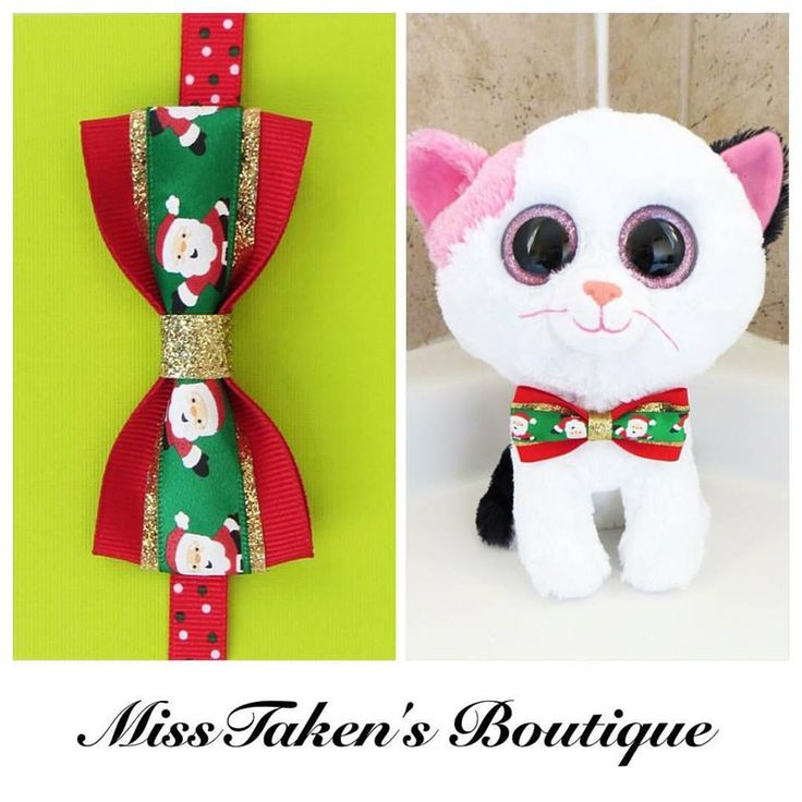 "Christmas Santa Bow Tie    Adjustable Neck Size: 7.5-13"" (19-33cm)   Bow: 8cm x 4cm   Collar: 1cm Grosgrain Ribbon   Plastic Hook"