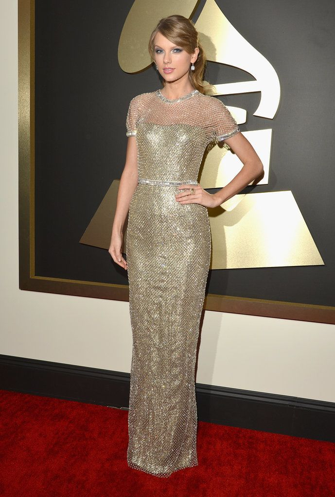 Taylor Swift looking stunning from head-to-toe at the 2014 Grammy Awards in a Gucci gown.