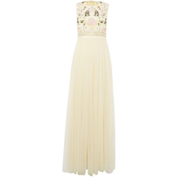 Needle and Thread Foliage cluster maxi dress (1.730.450 IDR) ❤ liked on Polyvore featuring dresses, lemon, women, backless sequin dress, flower print maxi dress, pastel floral dress, beige sequin dress and backless dresses