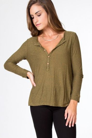 Chaser Silk Ray Henley Top |  Olive, $68