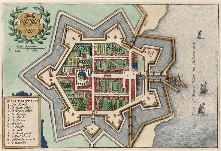 Plattegrond van Willemstad in 1649 door Blaeu uitgegeven.
