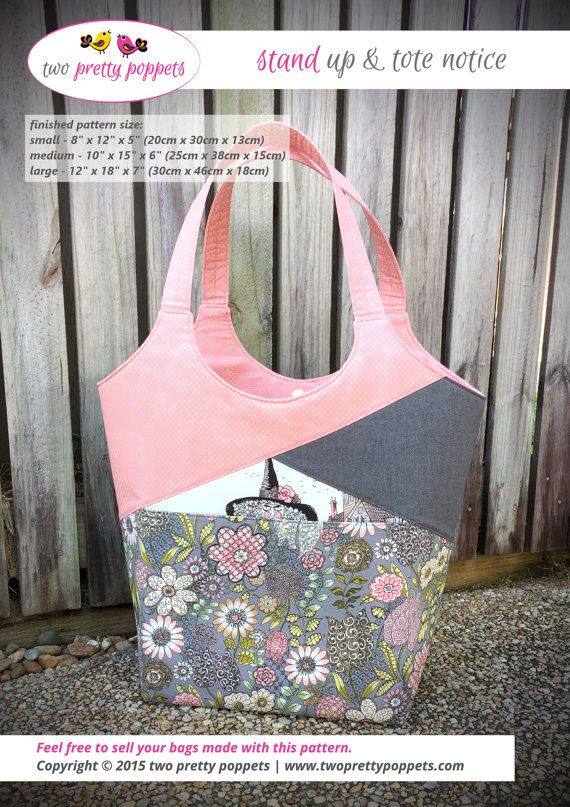 Tote bag pattern, Stand Up & Tote Notice, large tote bag, medium tote bag, small tote bag, tote bag PDF, diaper bag pattern