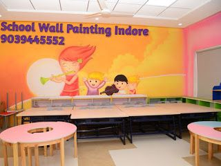 PLAY SCHOOL WALL PAINTING: School wall painting and decoration