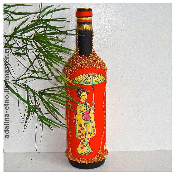Купить ЗОЛОТОЙ РИС ЯПОНИИ декоративная бутылка - Декоративная бутылка, япония, японский стиль, бутылка