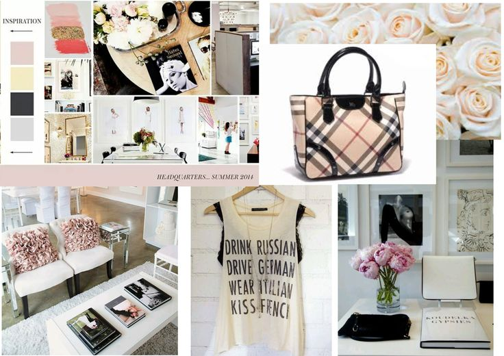 Here is our mood board that inspired our showroom. Pink, white, black and gold.