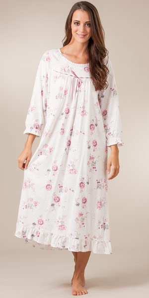 Ballet Long Sleeve Nightgown In 100% Cotton Knit By La Cera - Pink Harmony