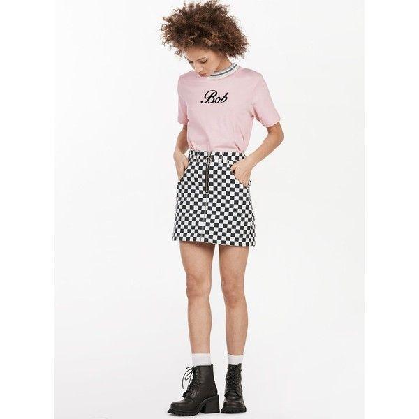 UNIF Apex Skirt ($91) ❤ liked on Polyvore featuring skirts, mini skirts, high-waist skirt, white denim mini skirt, short mini skirts, short skirts and white high waisted skirt