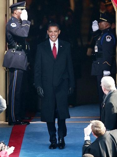 Barack Obama  President-elect Barack Obama enters his inauguration ceremony as 44th President of the United States in Washington, D.C.