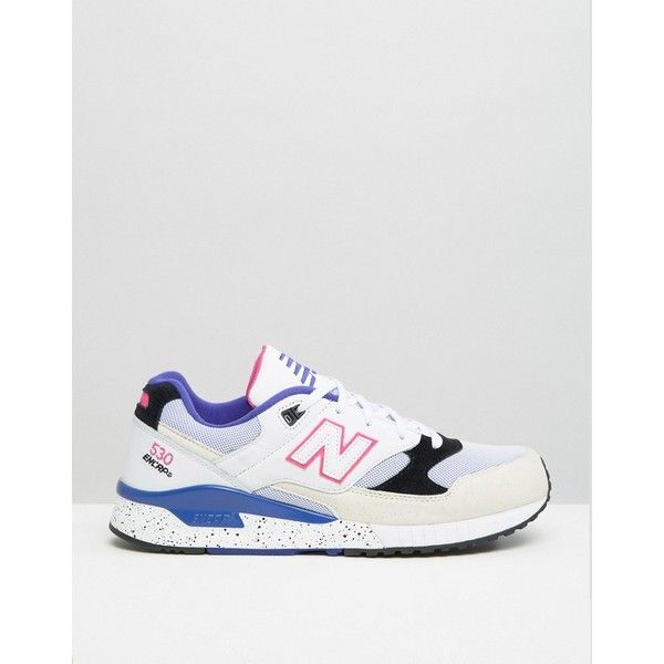 New Balance 530 Trainers In White M530KIE ($78) ❤ liked on Polyvore featuring men's fashion, men's shoes, men's sneakers, new balance mens sneakers, mens white shoes, mens lace up shoes, mens white sneakers and new balance mens shoes