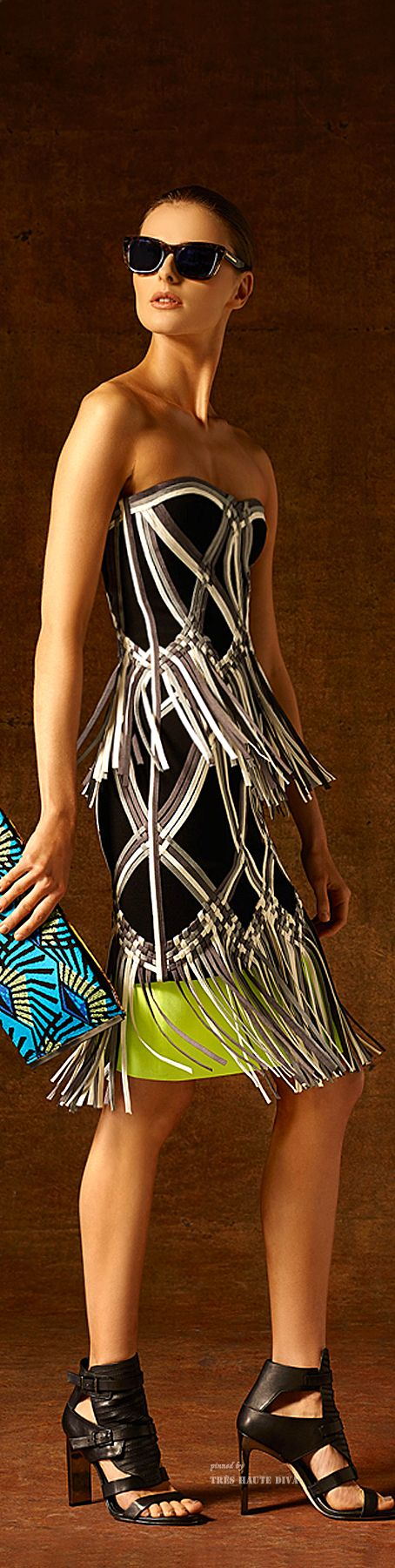 Hervé Léger by Max Azria  Pre-Fall 2015 Lookbook ~ Strapless Black+Kiwi Midi w Embroidery Fringe Details