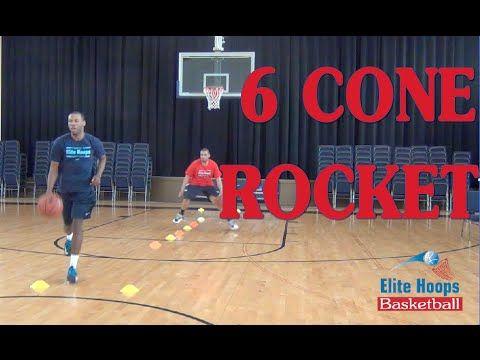 Elite Hoops Basketball Skill Development Drill: 6 Cone Rocket - YouTube