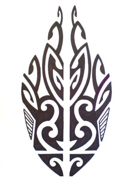 A Symmetrical Polynesian fish tattoo.