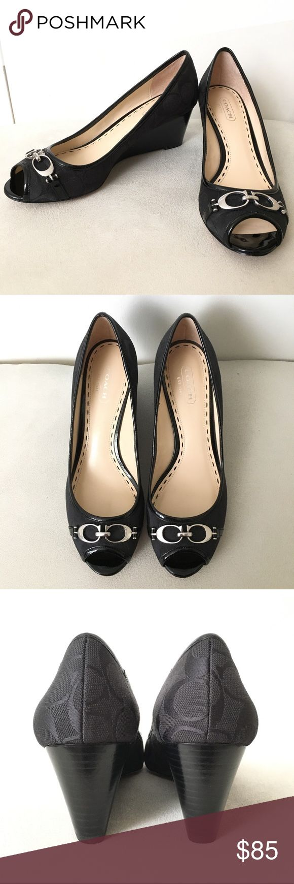"""Coach Signature Peep Toe Wedges These Coach black peep toe wedges are in excellent used condition. Have only been worn a few times. Patent & fabric material. Signature Coach logo throughout. 2 1/2"""" wedged heel. Size 7. So cute & elegant! Coach Shoes Wedges"""