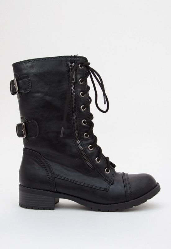 Moto Combat Boots - Black, boots, black, perfect for fall