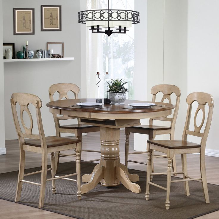 Sunset Trading Brookdale 5 Piece Oval Counter Height Table Set with Napoleon Stools - SET572